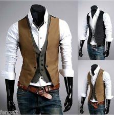 Vintage fashion checkered stitching two false design men's vest Waistcoat jacket