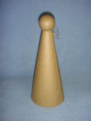 """aper Mache Angel Cone - 9 1/2"""" high w/4"""" base diameter - Add wings & accents to create easy angel decorations."""