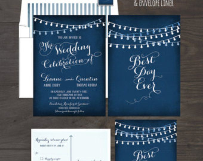 String Light Chalkboard Wedding Invitation Card and RSVP Best Day Ever Navy or Eggplant Colors Twinkle Lights DEPOSIT Payment