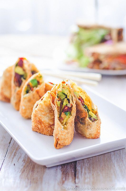 CheeseCake Factory Avocado Egg Rolls #copycat #recipe by the Novice Housewife - Avocado, Sun-Dried Tomato, Red Onion and Cilantro Fried in a Crisp Wrapper. Served with a Tamarind-Cashew Dipping Sauce. To unsure this is vegan use vegan wonton wrappers and omit honey for a vegan sweetener. #veganize #appetiser #vegetarian #snack #sides