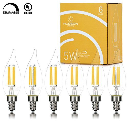 Hudson Lighting Dimmable LED Flame Tip Candelabra Bulb- UL Listed-2 Year Warranty- 5 Watt- 450 Lumen- E12 Base- 2700K- Indoor or Outdoor- 6 Pack - PERFECT 360 DEGREE OF LIGHT OUTPUT Hudson Lighting, Inc. introduces this flame tip 6 pack of Candelabra bulbs to be an exact fit to your traditional incandescent candelabra bulb producing 360 degree of light distribution and only 5 watts. These are an elegant and aesthetically pleasing candle bul...