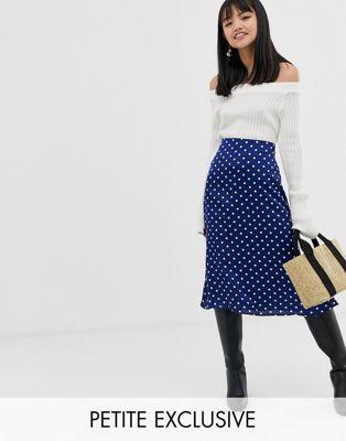 b24b568ad4 Glamorous Petite bias cut midi skirt in polka dot satin in 2019 ...