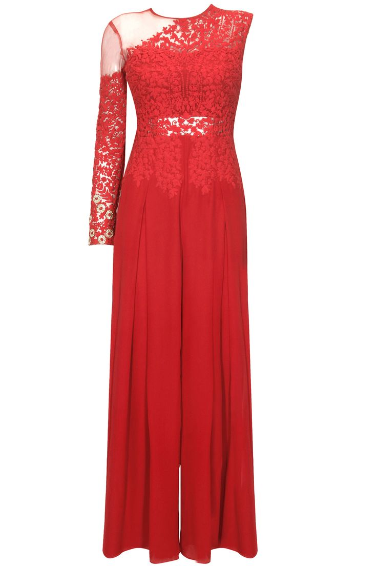 Red floral dori floral work one sleeved jumpsuit by Ridhi Mehra. Shop now: www.perniaspopupshop/designers/ridhi-mehra #shopnow #ridhimehra #perniaspopupshop
