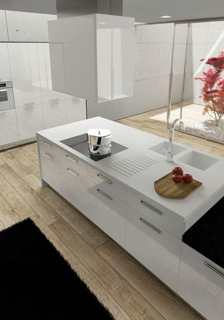 White acrylic doors. Korakril Bianco and Porfido Viola worktop. #ArritalCucine #Kculture #modern #kitchen #Light