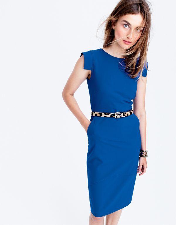AUG '15 Style Guide: J.Crew women's sheath dress in Italian stretch and calf hair belt.