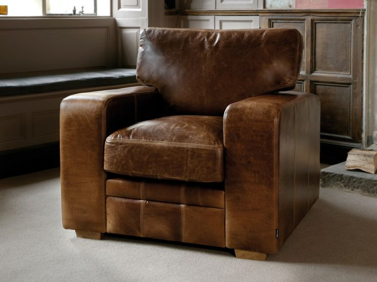 Vintage Chunky Square Leather Armchair Leather Furniture