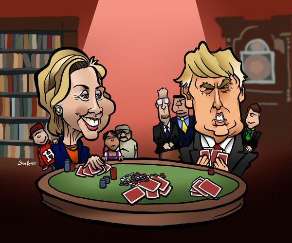 Hillary vs. Trump Poker Game, Steve Rampton on ArtStation at https://www.artstation.com/artwork/V2v6N