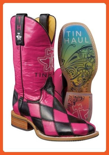 Tin Haul Womens Cowboy Western Harlequin Rainbow Pink Cowgirl Boots 6.5 - Boots for women (*Amazon Partner-Link)