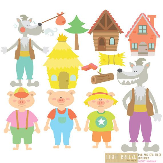 Three Little Pigs Digital Clipart & Vector por LightbreezeBoutique