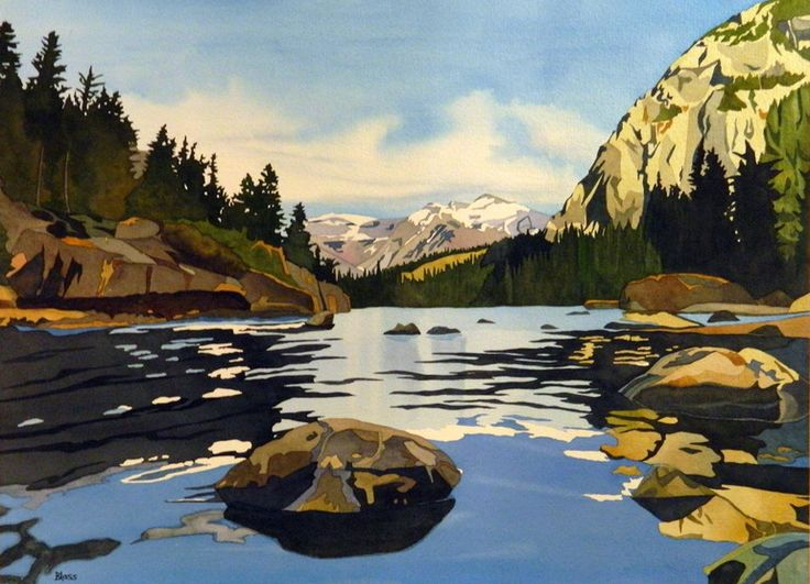 "Saatchi Online Artist: Sandy Blass; Watercolor 2013 Painting ""Bow River, Banff National Park"""