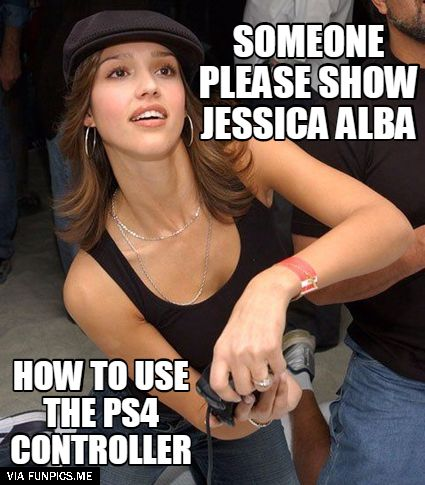 awesome Jessica Alba playing PS4