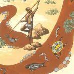 Traditional Aboriginal Life Motifs printed on cotton fabric