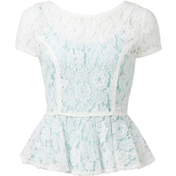 Forever New Janelle lace peplum t-shirt ($62) ❤ liked on Polyvore