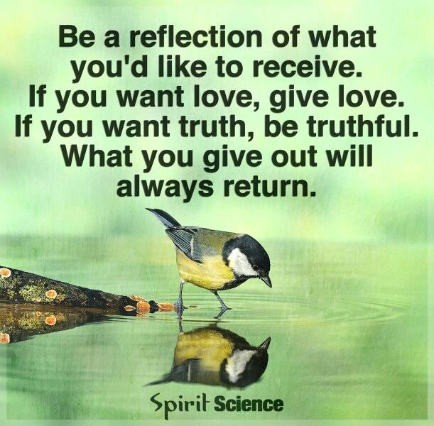 BL reflection of what you'd like to receive. If you want love, give love. If you want truth, be truthful. What you give out will always return.