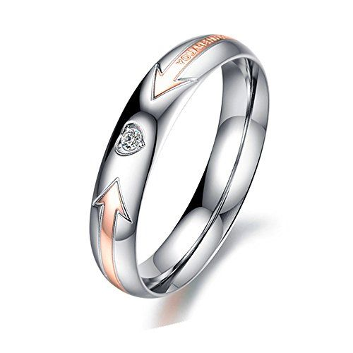 Heyrock 4mm Rose Gold Romantic Lover Crystal Tungsten Couples Band Ring JwNn9lzsX