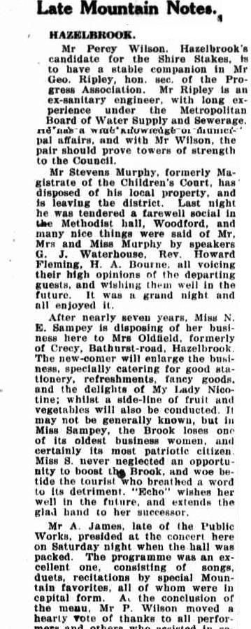 The Blue Mountain Echo (NSW : 1909 - 1928), Friday 30 January 1920, page 5  Mrs Sampey tea Rooms