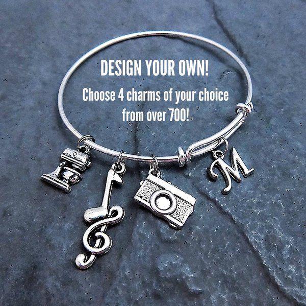 Design Your Own Custom Bangle Charm Bracelet Pick Your Charms: 80 Best Expandable Charm Bangle Bracelets Images On