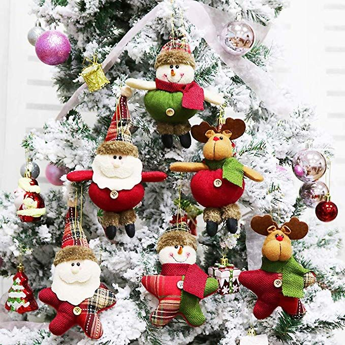 Aitey Christmas Tree Ornaments Plush Toys Christmas Decoration Santa Clause Snowman Rei Christmas Plush Christmas Ornaments Gifts Christmas Party Decorations