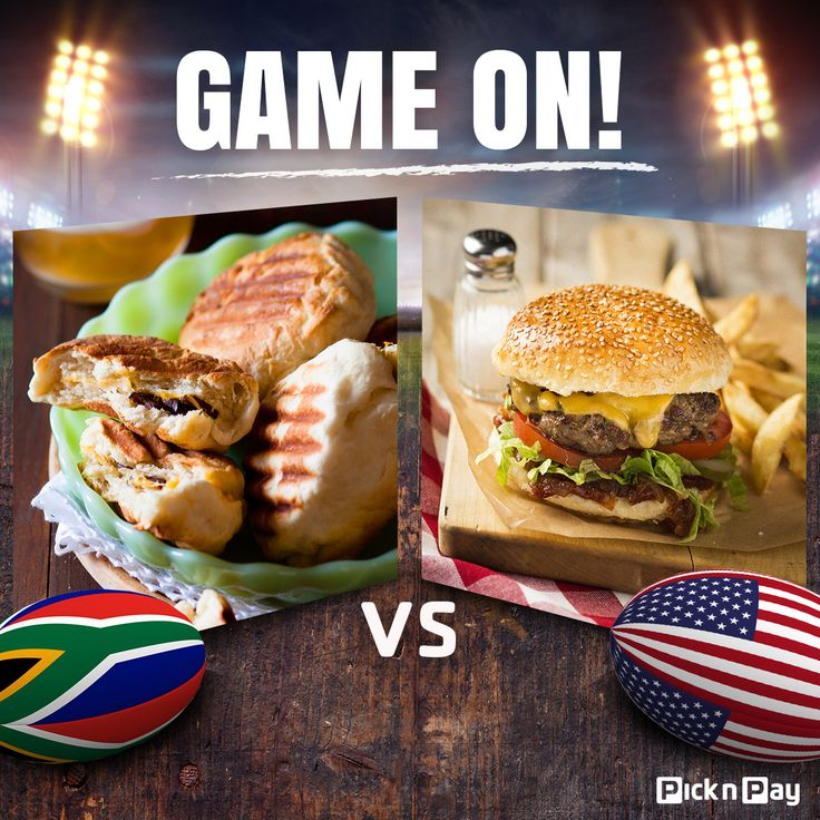 We know who you're backing in the Rugby World Cup, but who gets your support for supper? #RWC2015 #SAvsUSA 1. BIltong & cheese roosterkoek 2. Cheese burgers