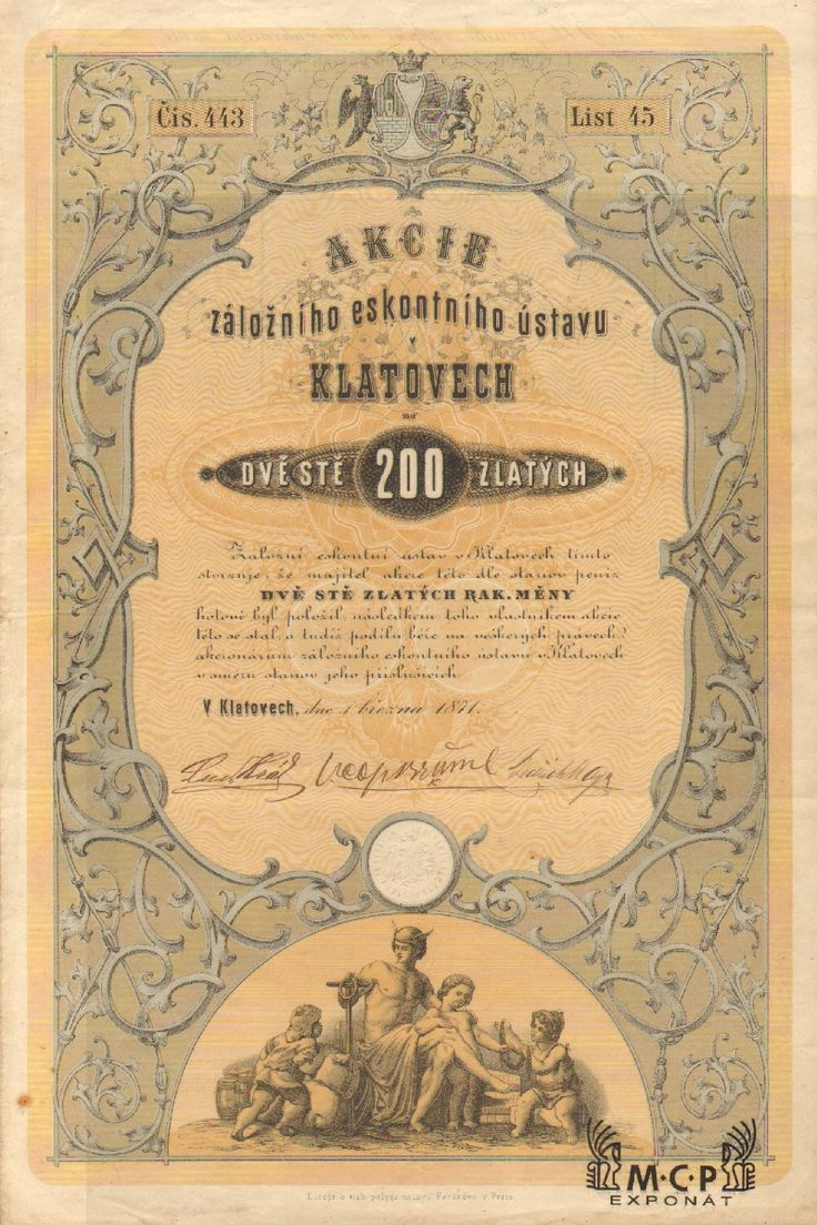 Muzeum cennych papiru A2117 Záložní eskontní ústav v Klatovech / Spar- und Escompte Anstalt in Klattau 1871
