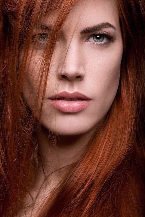 redhead, Women, Green Eyes, Face, Freckles, Biting Lip