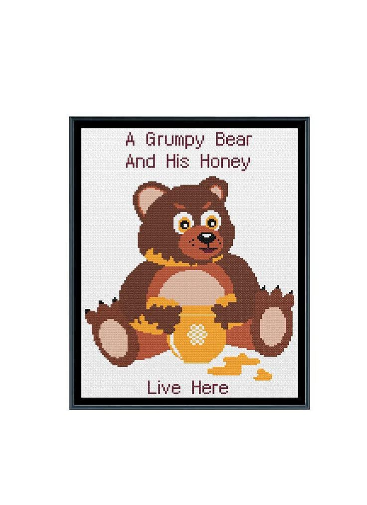 A Grumpy Bear and His Honey Live Here Cross Stitch Pattern by StitcherzStudio on Etsy