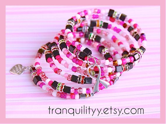 Breast Cancer Inspiried Bracelet  Plums n Pinks by tranquilityy