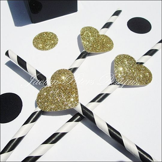 Black And White Stripe Party Straws With Gold Glitter Hearts