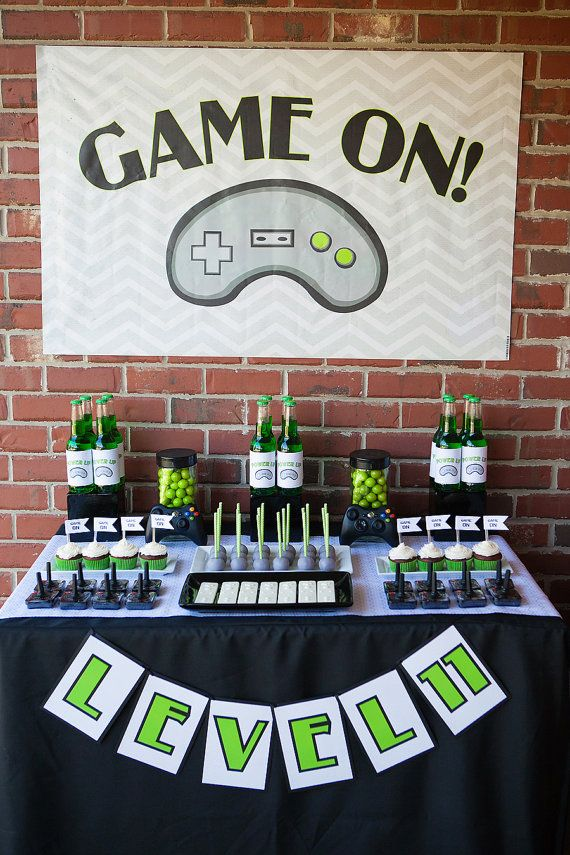 Video Gamer Printable Invite And Party Set Level Banner Bottle