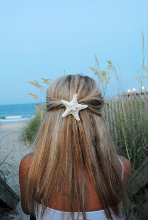 starfish clip: Starfish Clip, Beaches Hair, Mermaids Hair, Summer Hair, Hair Pieces, Hair Style, Hair Accessories, Starfish Hair Clip, Beaches Wedding