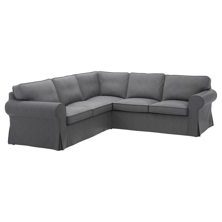 IKEA - EKTORP, Sectional, 4-seat corner, Nordvalla dark gray, , Seat cushion filled with high resilient foam and polyester fiber balls for soft seating comfort.Reversible back cushions filled with polyester fibers provide soft support for your back and two different sides for longer wear.Extra covers make it easy to give both your sofa and room a new look.The cover is easy to keep clean as it is removable and can be machine washed.10-year limited warrranty. Read about the terms in the…