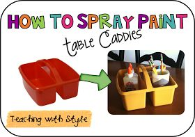 Teaching With Style!: How to Spray Paint Table Caddies