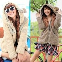 Can't help myself, but think these are SO cute, but the neighbors would think I was nuts, wearing a coat with ears, getting too old! Women's Thicken Fleece Hoodie Coat Jacket Outerwear