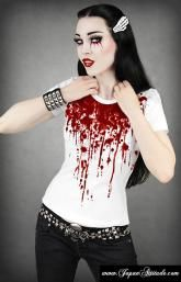 white T-shirt with blood splatter, zombie horror