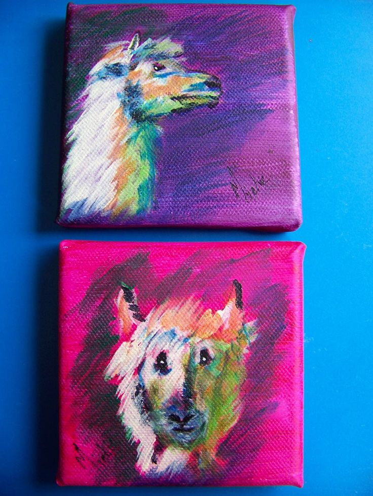 These two paintings are available from Marietjie Uys at uys.marietjie@gmail.com. Price: R120. Alpaca Impressions are 10 x 10 cm each and are acrylic and pen on stretched canvas. Artist: Miekie.