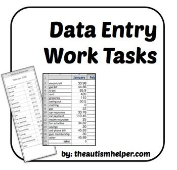 Data Entry Work Tasks { This resource has minimal teacher setup. All you need to do is save the excel files on your school computer, print the work sheets, and label the folders. There are 5 different work tasks included. Directions for setup, labels, coordinating pre-setup excel files, and visual directions are included for each task.} by theautismhelper.com
