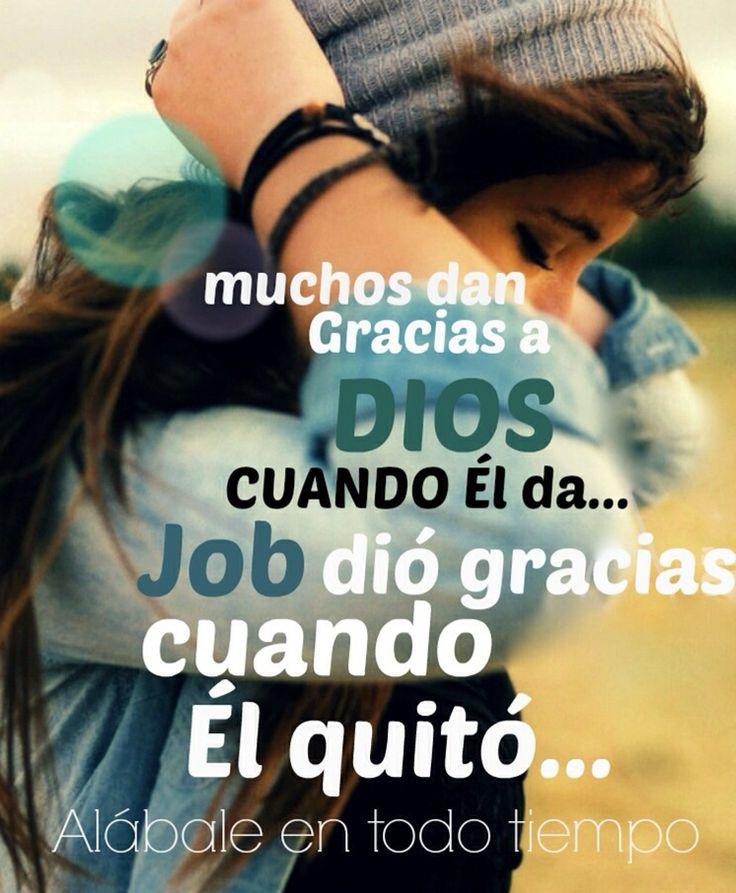 Muchos dan gracias a Dios cuantos Él da. Job dio gracias cuando Él quitó. Alábale en todo tiempo