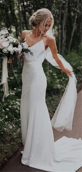 Sheath Spaghetti Straps Simple Cheap Long Wedding Dresses With Train, WD0474