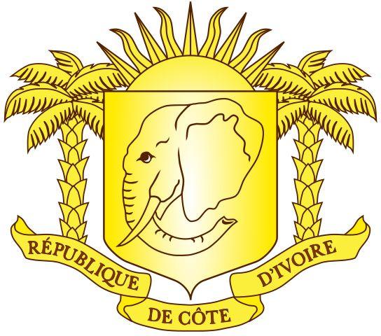 Brasão de armas da Costa do Marfim. Coat of arms of Ivory Coast.