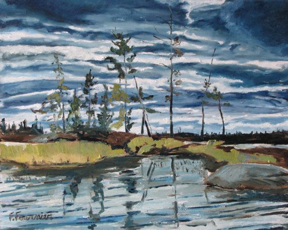 Francois Fournier Canadian Impressionist http://francoisfournierart.com/  This original oil painting present an Island at Barbue Lake, in the National Park of Frontenac, in Quebec. Canada during a late summer evening.
