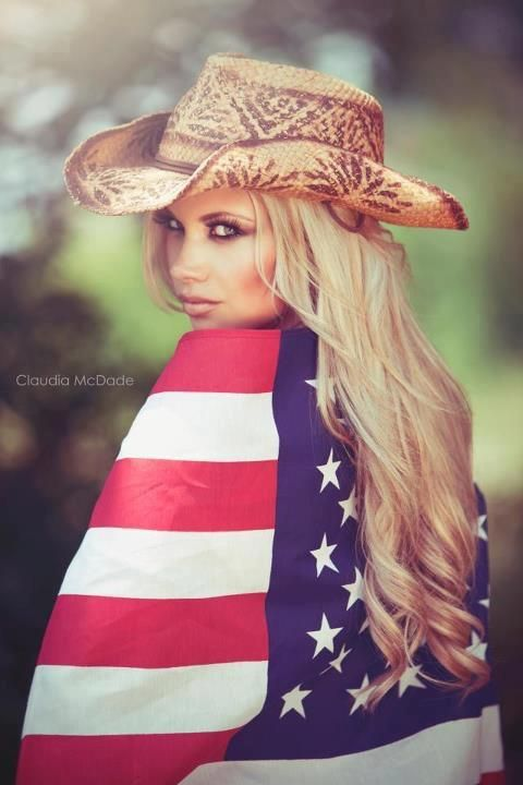 Claudia McDade PHotography  Candice HOlloway mua  Carley fant hair  USA Flag, cowboy hat, American