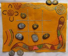 Aboriginal kids game ngaka ngaka. Dream time art and stories.