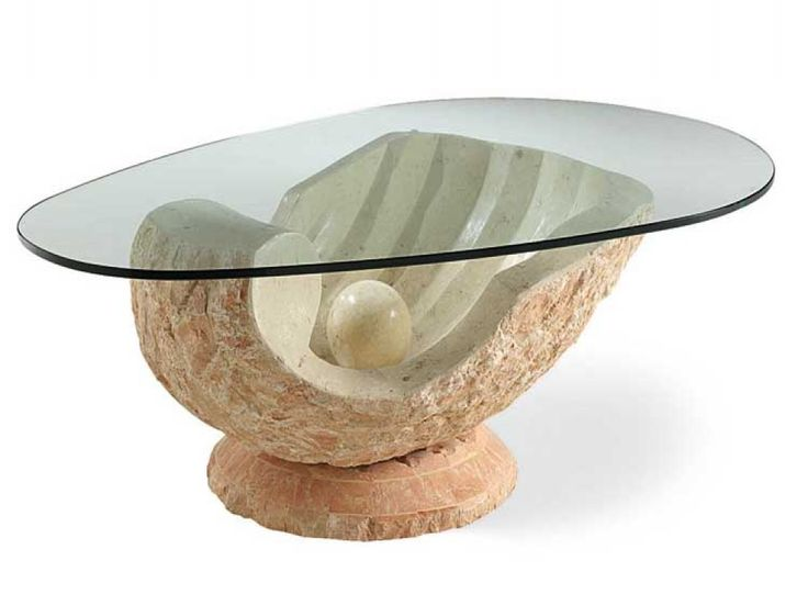 Venere Pale Salmon Fossil Stone Glass Coffee Table Free Delivery Unique Coffee Tables