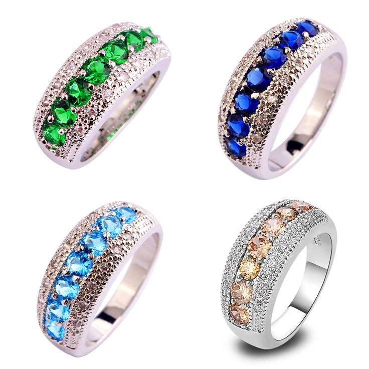 lingmei Free Shipping New Women CZ Diamond   Blue CZ Morganite Silver Plated Ring Size 6 7 8 9 10 11 12 13 Wholesale 82R
