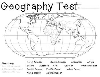 Can your students identify the seven continents of the world? What about the four oceans? Equator? Prime Meridian? Give this assessment frequently so students are able to identify the parts of the world correctly. I give this assessment to my students quarterly and it is amazing to see how the improvement (or lack there of) after knowing they will have a pop geography test at any time! :) Enjoy!