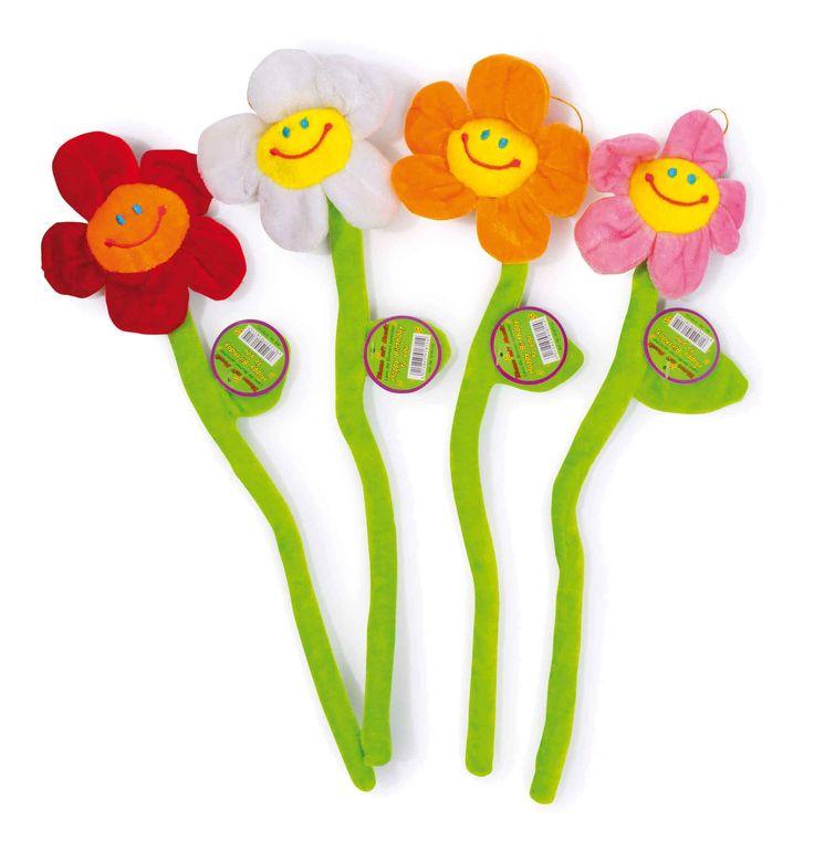 """Set van 4. Als de jarigen van puur plezier over het verjaardagsconcert met hun gezicht trekken, dan zijn deze melodieuze bloemen precies het juiste! Na het drukken op een blad wordt """"Happy Birthday"""" gespeeld!"""