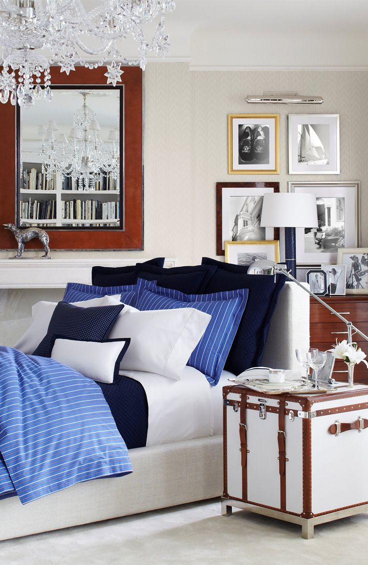 Ralph Lauren's Off Sunset bedding uses bold hues to brighten up a modern bedroom made for travelers and city dwellers.