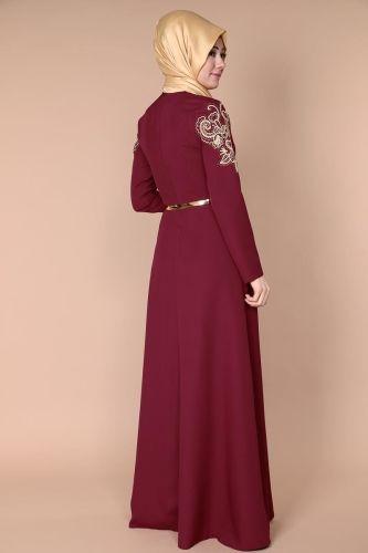 Özge Gold İşlemeli Abiye Elbise YGS5030 Bordo - Thumbnail