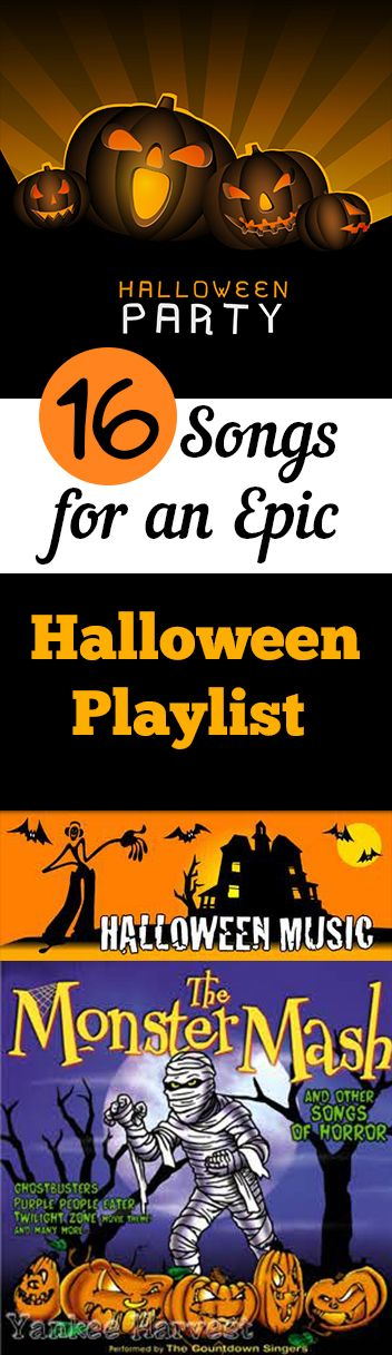 16 Fun Halloween Songs for an epic Halloween Party posted by Amber Bailey...If you're planning a Halloween party, or even if you just want to get in the Halloween spirit, then it's time to put together a spooky playlist! Music is the perfect way to set a spooky mood for Halloween. Here are some of the best songs to get you in the Halloween spirit.