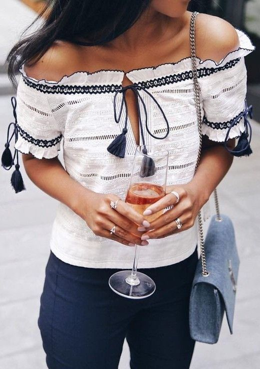 #summer #lovely #outfits | Off The Shoulder Tassel Top
